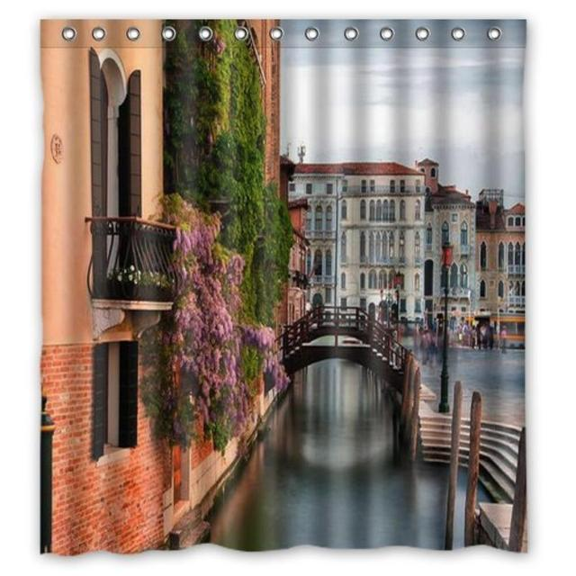 Spring In Venice Italy Print Custom Shower Curtain Pattern Waterproof Fabric For Bathroom 6672inch