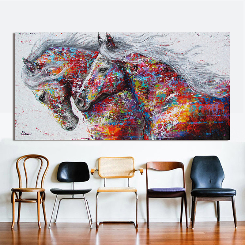 RELIABLI ART Graffiti Wall Art Pictures Horse Animal Canvas Painting The Two Running Horse For Living Room Home Decor No Frame