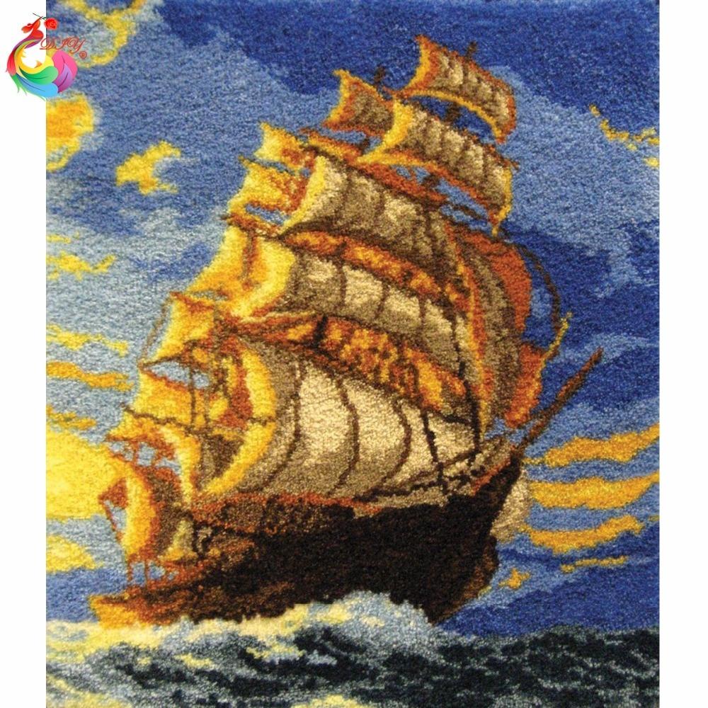 Crochet de verrouillage Kit Patchwork tapis Tapis ensemble de crochet crochets DIY Artisanat bateau tapis ensemble de tricot needlesBig size110x95cm