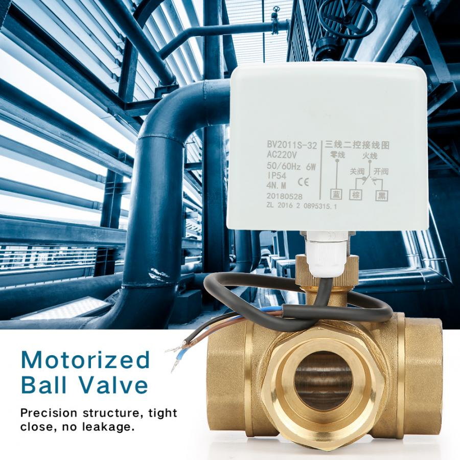 3 Wire 2 Control Hysteresis Synchronous Motor Brass Motorized Ball Valve 3 Way Motorized Ball Valve Special Rubber for Fan Coil Water Control System