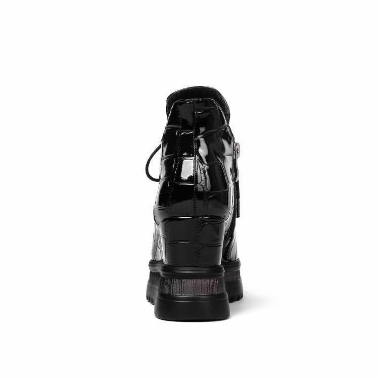 MLJUESE 2019 kadın yarım çizmeler patent deri kış kısa peluş sarı renk platformu takozlar topuklu kadın çizmeler boyutu 34-42
