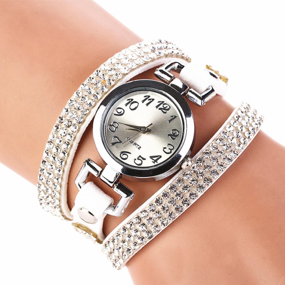 Crystal Rhinestone Leather Bracelet Wristwatches