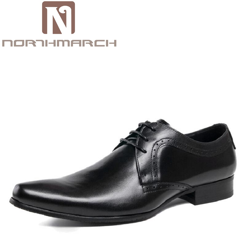 NORTHMARCH Pointed Toe Business Formal Shoes Wedding Brown Genuine Leather Oxford Shoes Men Dress Shoes Chaussure Homme Cuir zapato oxford azul formal wedding men shoes mens summer dress black pointed shoes chaussure homme new brand men leather flats