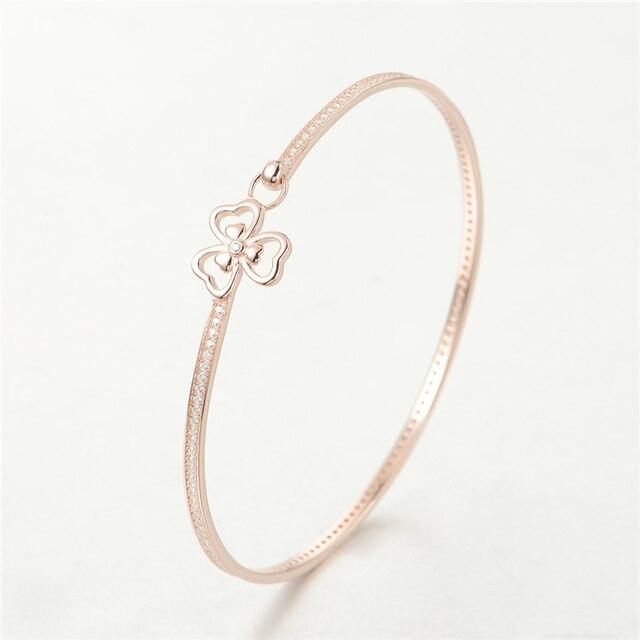 New 925 Sterling Silver Jewelry Bangle Bracelet Three Leaf Clover Bangle Handmade Bracelets Women Jewelry Wholesale