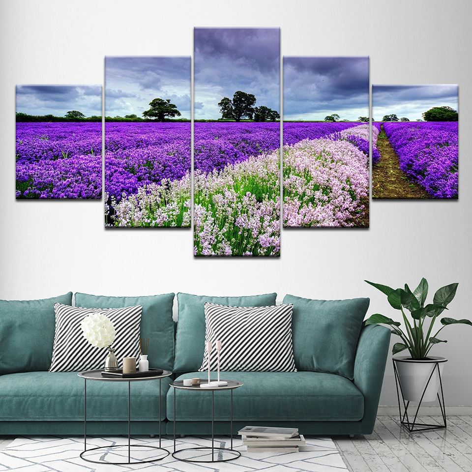 Framed 5 Panel Modular Lavender Fields Landscape Printed Oil Canvas Painting Fashion Home Decor Living Room Wall Art Picture