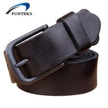 FUNTEKS 100% TOP Erste Schicht Ledergürtel Männer Hohe Qualität luxus Marke Casual Gürtel Vintage Schwarz Hüftgurt Für Männer Ceinture