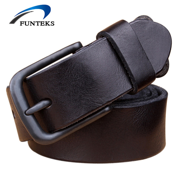 Funteks 100 Top First Layer Leather Belt Men High Quality Luxury