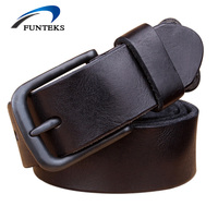 FUNTEKS 100 TOP First Layer Leather Belt Men High Quality Luxury Brand Casual Belts Vintage Black
