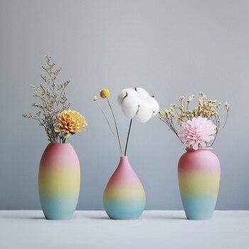 Modern Rainbow Prints Vase Colorful Ceramic Flower Vase 6 Design Desktop Mini Vase Home Decorative Centerpiece 1