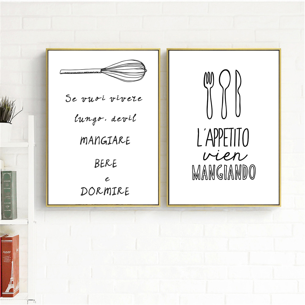 US $2 79 30% OFF|Modern Print Black White Wall Art Kawaii Hippie Cooking  Quotes Poster Nordic Kitchen Wall Art Home Decor Canvas Painting-in  Painting