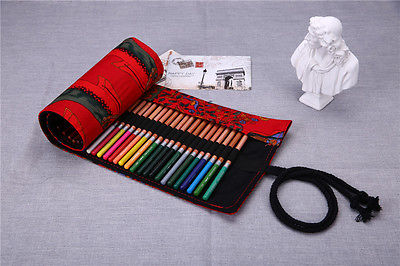red Happy Tree 36/48/72-hole Canvas Color Pencil Wrap Roll Hold Pouch Hand Made Traveling Pencil Cases & Bags