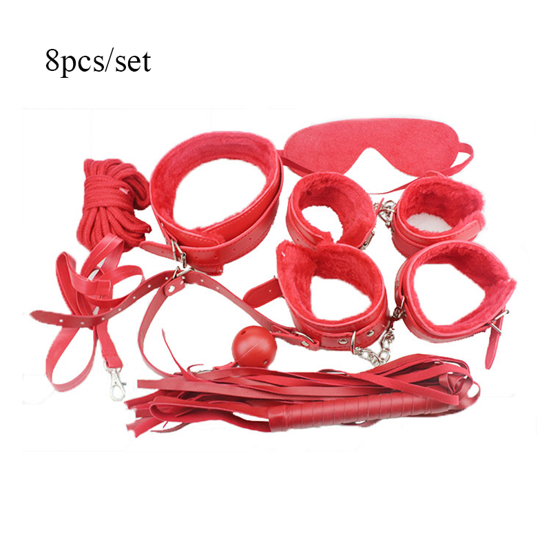 Buy 8 PC/set Adult Games Role Play leather Fetish Bondage Restraint Mask Ball Gag HandCuffs Slave Sex Toys Couples SM Products