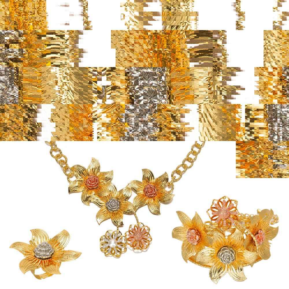 MUKUN 2017 new Flower Trang Sức thiết Vàng Màu Bridal Wedding thiết Necklace Earrings Bangle Vòng Ethiopia/Châu Phi/Arabia mặt hàng