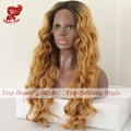 Hot Selling Black Brown Blonde Ombre Wave Heat Resistant Hair Wigs Lace Front Wigs Synthetic Wigs For Women Free Shipping