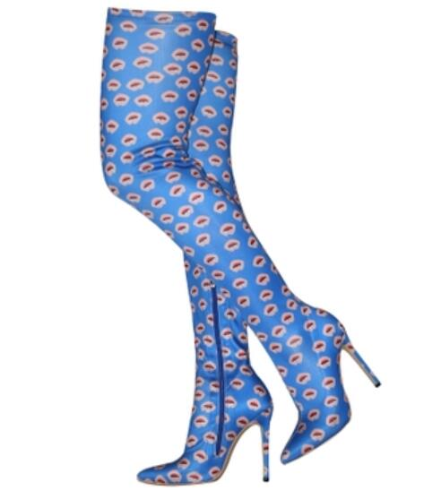Rodilla 2019 Impreso Nuevas Las Zapatos Fino Altas Ajustados Cremallera Botas Mujer Elástico De Azul Mujeres Short long En Calcetines Fiesta Tacón 7qr7nWF