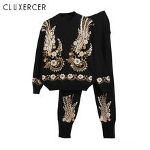 Women Knitted Tracksuits Set Casual Pullover Sweater And Pants 2 Piece High Quality Handmade Beading Sequined Woman Suits