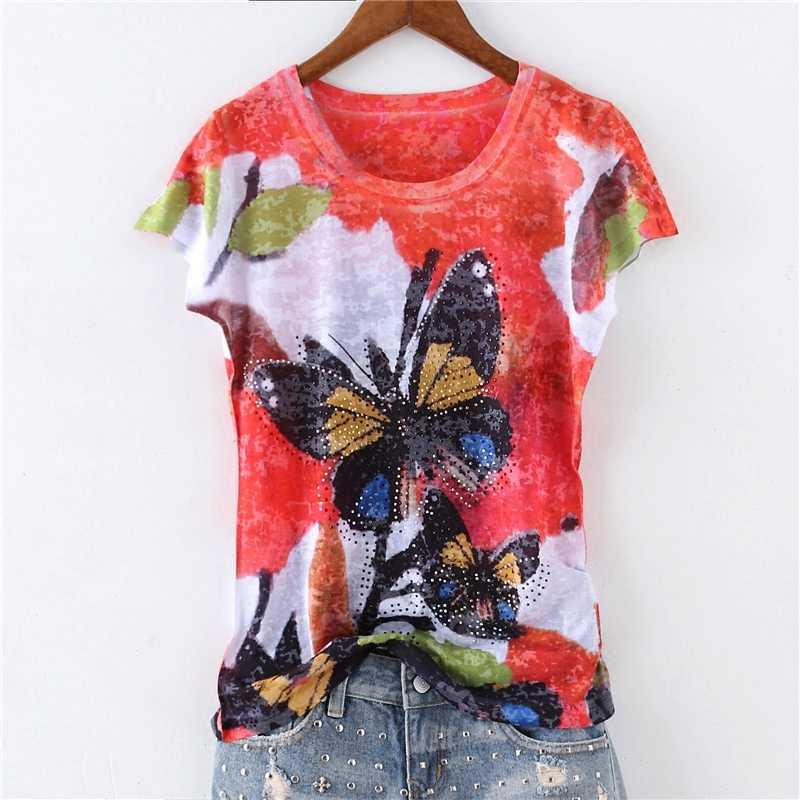 Двухсторонняя тонкая футболка с принтом бабочки, женские модные топы с коротким рукавом 2019, Новые поступления