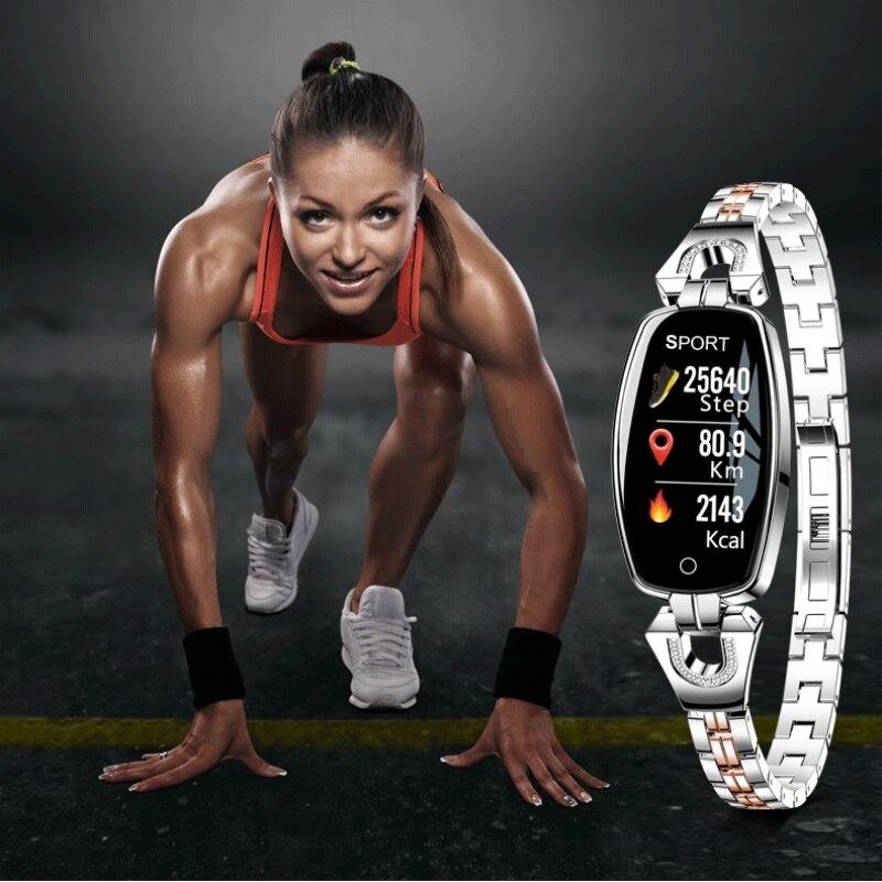 Femmes Bracelet Dame De Mode Smart Bracelet Pression Artérielle Moniteur de Fréquence Cardiaque Fitness Tracker IP67 Smart montre Femme Horloge H8