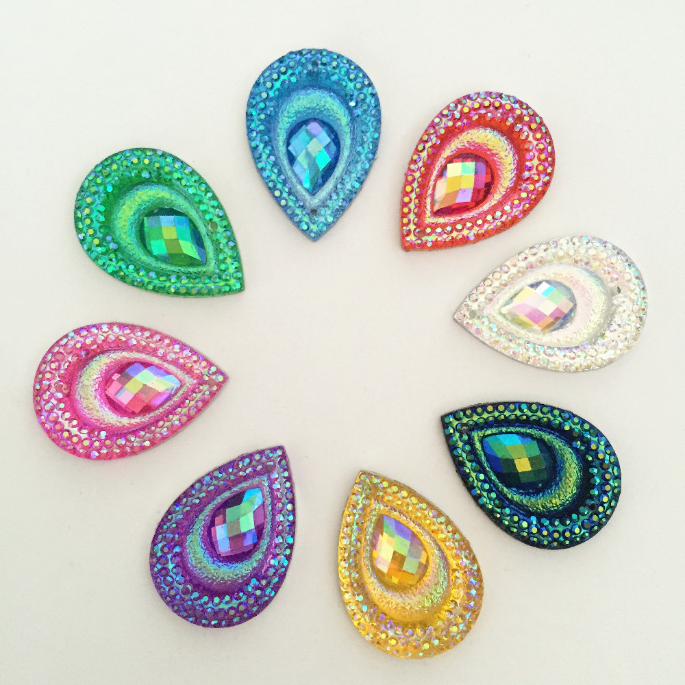 20PCS AB Resin 18*25mm teardrop Peacock eye Flatback Rhinestone Ornaments DIY Wedding appliques 2 hole buttons SC66*2