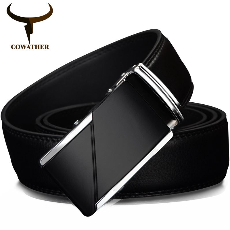 COWATHER COW genuine Leather Belts for Men High Quality Male Brand Automatic Ratchet Buckle belt 1.25'' 35mm Wide 110-130cm long