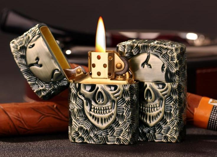 Kerosene, čistě měděný zapalovač brnění lebka osobnost - Výrobky pro domácnost