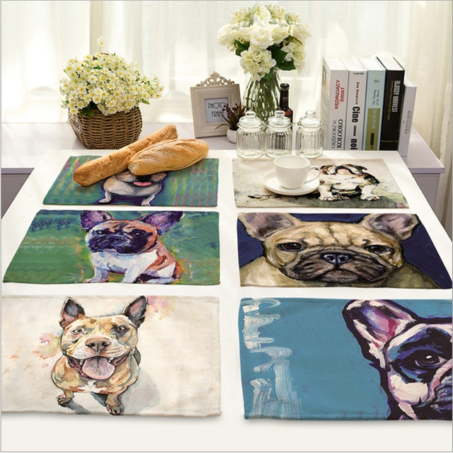 Home Decor Painted Dog Placemat Linen Fabric Table Mat Dishware Coasters  For Kitchen Accessories Wedding Party