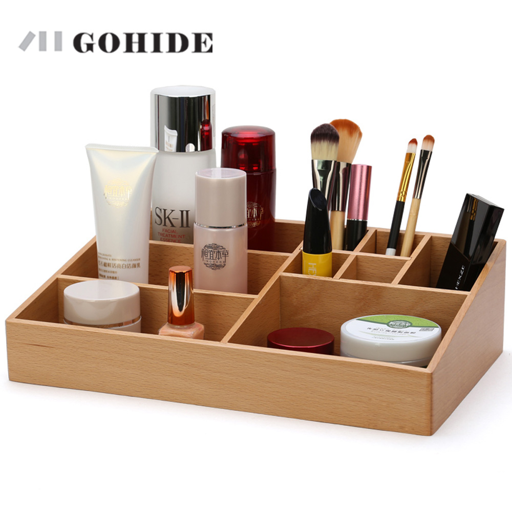 JUH A Multifunctional Wooden Table Sundries Container Cosmetics Storage Box Desktop Office Supplies Jewelry Organizer ZLCP