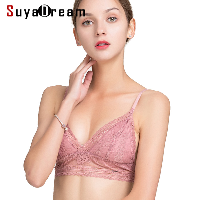 Women Lace Bra 100%Real Silk Lining Thin Padded 3/4 Cup Bras For Girl Every Bra 2019 Underwear New Black White