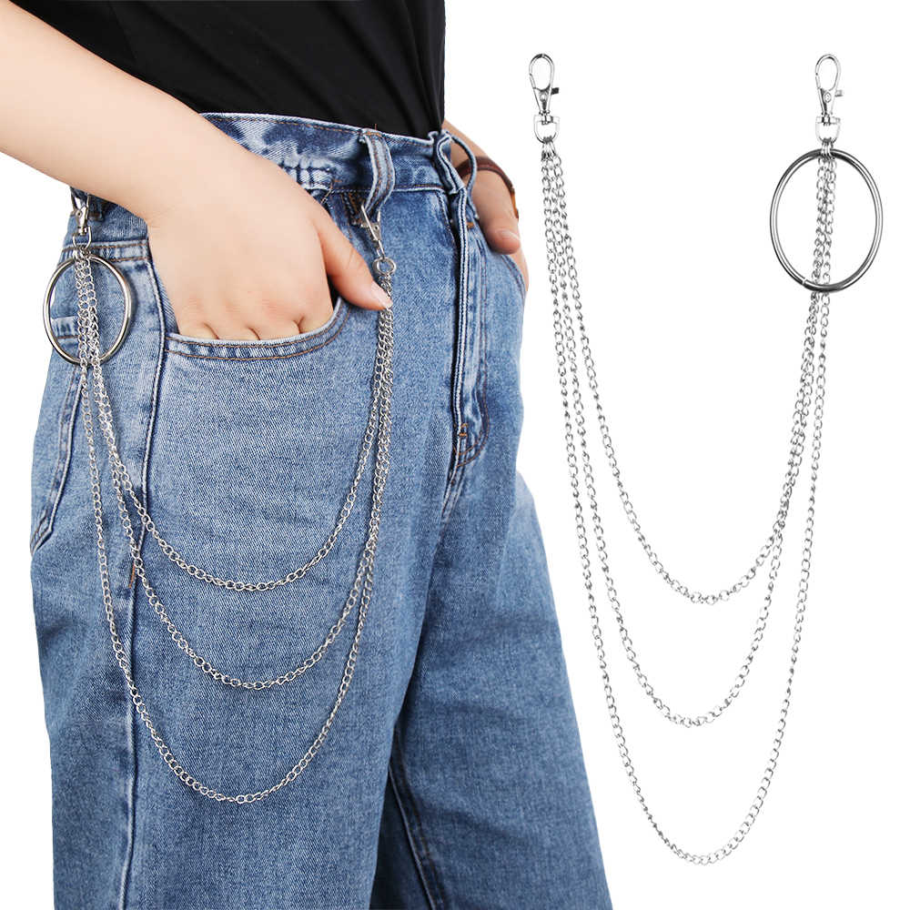 Fashion Street Big Ring Pendant Key Chain Men Women Rock Punk Trousers Hipster Keychains Pants Jean Keychain Hip Hop Jewelry