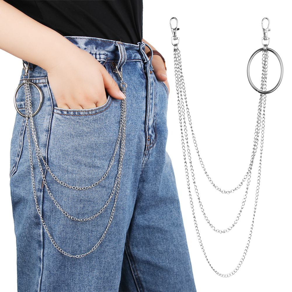 1Pcs Unisex Fashion Street Big Ring Pendant Key Chain Rock Punk Trousers Hipster Key Chains Pant Jean Keychain HipHop Jewelry