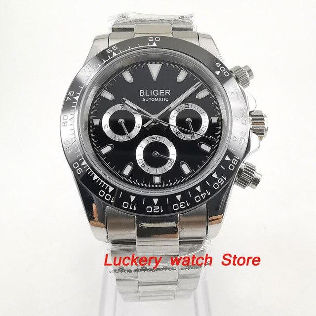 Reloj bliger de 39mm, esfera negra, multifunción, fecha de semana, movimiento automático, watch BA123 para hombres