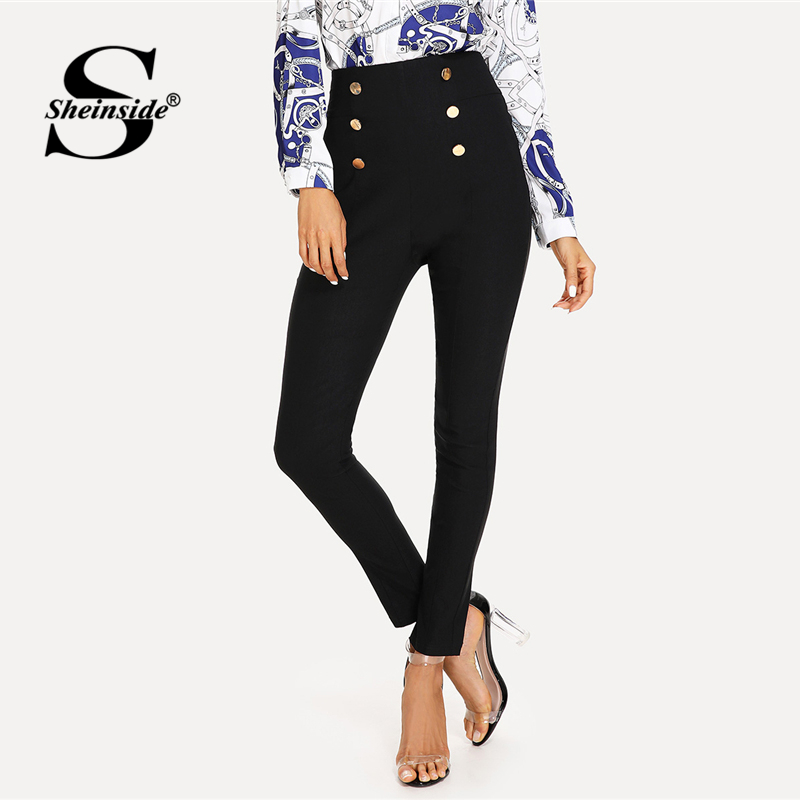Sheinside Double Button Embellished Skinny Pants Black High Waist Zipper Fly Elegant Trousers Office Ladies Plain Carrot Pants