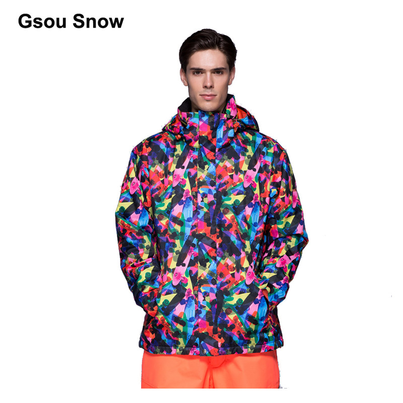 Gsou Snow Men Waterproof Ski jacket Mountain climbing suit snowboard Wear Windproof colorful winter sport Top Warm Up 1503-001 цена
