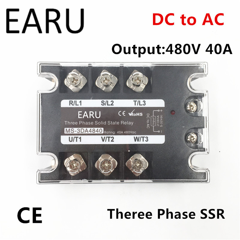 TSR-40DA SSR-40DA Three Phase Solid State Relay DC 5-32V Input Control AC 90~480V Output Load 40A 3 Phase SSR High Power DA4840