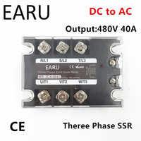 TSR-40DA SSR-40DA Three Phase Solid State Relay DC 5-32V Input Control AC 90~480V Output Load 40A 3 Phase SSR High Power DA4840