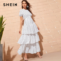 SHEIN Puff Sleeve Layered Ruffle Hem Polka Dot Dress White Fit and Flare High Waist Women Dresses Elegant Summer Dress