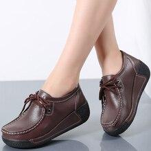 LAISUMK Fashion Brand Women Flats Platform Shoes Genuine Leather Moccasins Creepers slipony Female Casual