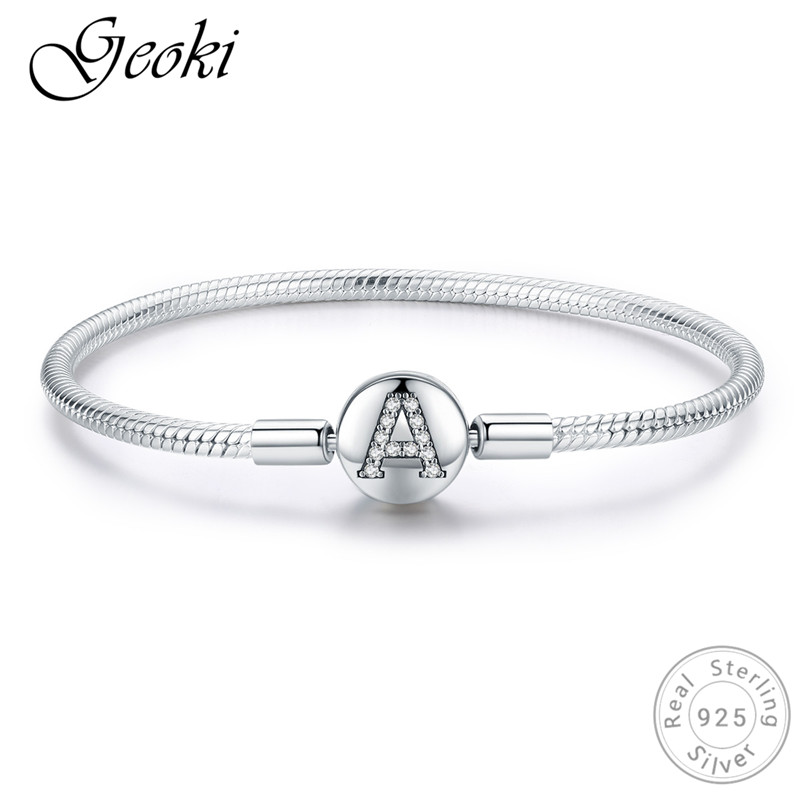 Geoki 925 Sterling Silver Micro White Cubic Zirconia A Shaped Beads Bracelet S925 Original Clear CZ First Capital Letter BangleGeoki 925 Sterling Silver Micro White Cubic Zirconia A Shaped Beads Bracelet S925 Original Clear CZ First Capital Letter Bangle