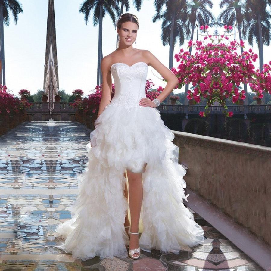 Glamorous White Tulle Wedding Dresses Tiered Ruffled High
