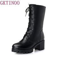 Women Winter Lace Up Vintage Thick Heels Boots Genuine Leather Shoes Thick Warm Wool Lady Retro