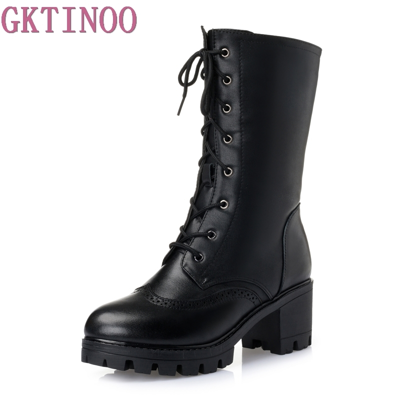 Women Winter Lace-Up Vintage Thick Heels Boots Genuine Leather Shoes Thick Warm Wool Lady Retro Mid Calf Boot Plus Size 35-42 new arrival superstar genuine leather chelsea boots women round toe solid thick heel runway model nude zipper mid calf boots l63