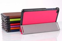 Ultra Slim Cass Grain Pattern Tri Fold Folio Stand PU Leather MagSmart Sleep Cover Case For