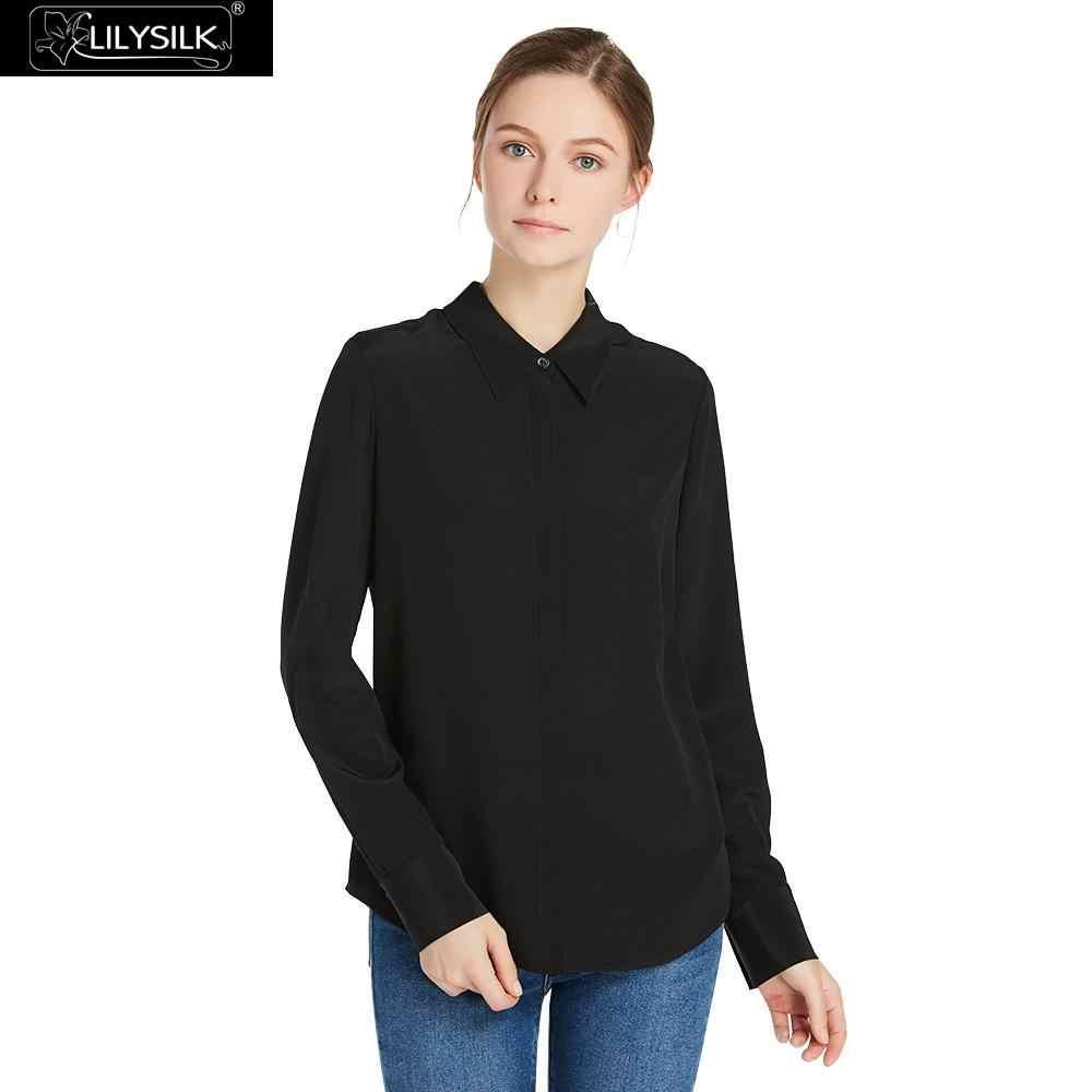 52d62731080859 LilySilk Blouse Shirt Silk for Women Feminine Elegant Summer Ladies 18  momme Wrinkle Basic Long Sleeve