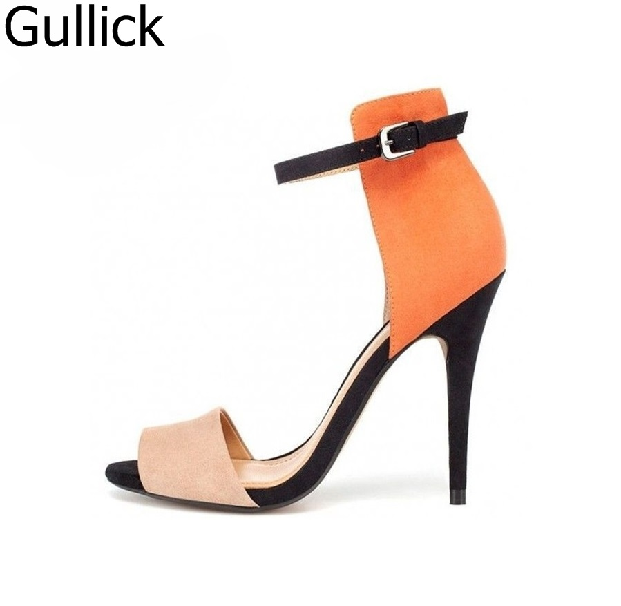 dc0c19881bf1 Hot Sale Orange Mixed Colors Ankle Buckle Strap Sandals Women Summer Peep  Toe Hollow Out Patchwork