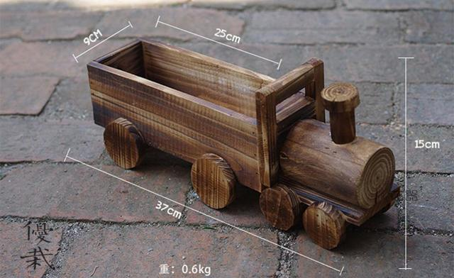 Wooden Train Cacti Succulent Plant Pot Flower Planter Mini Garden