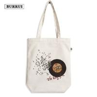 BURRUI Original Design Canvas Shoulder Bag Unisex Zipper Handbag Music Pattern Tote Shopping Bag Casual Travel Beach Bag