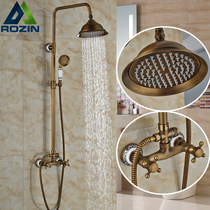 Classic NEW Antique Brass Rainfall Shower Set Faucet + Handheld Shower Wall Mounted 8