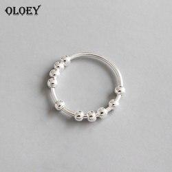 OLOEY 100% Gerçek 925 Ayar Gümüş Parmak Yüzük INS Basit Geometrik Dize Boncuk Yüzükler Kadınlar için Lüks Güzel Takı YMR559