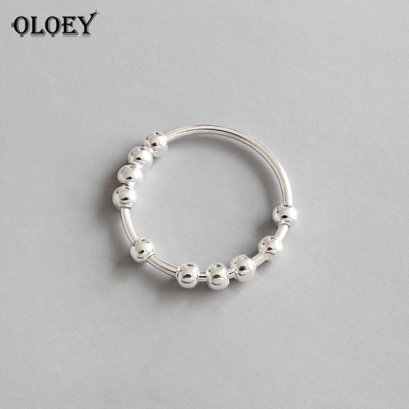 OLOEY 100% Real 925 Sterling Silver Finger Ring INS Simple Geometric String Of Beads Rings For Women Luxury Fine Jewelry YMR559