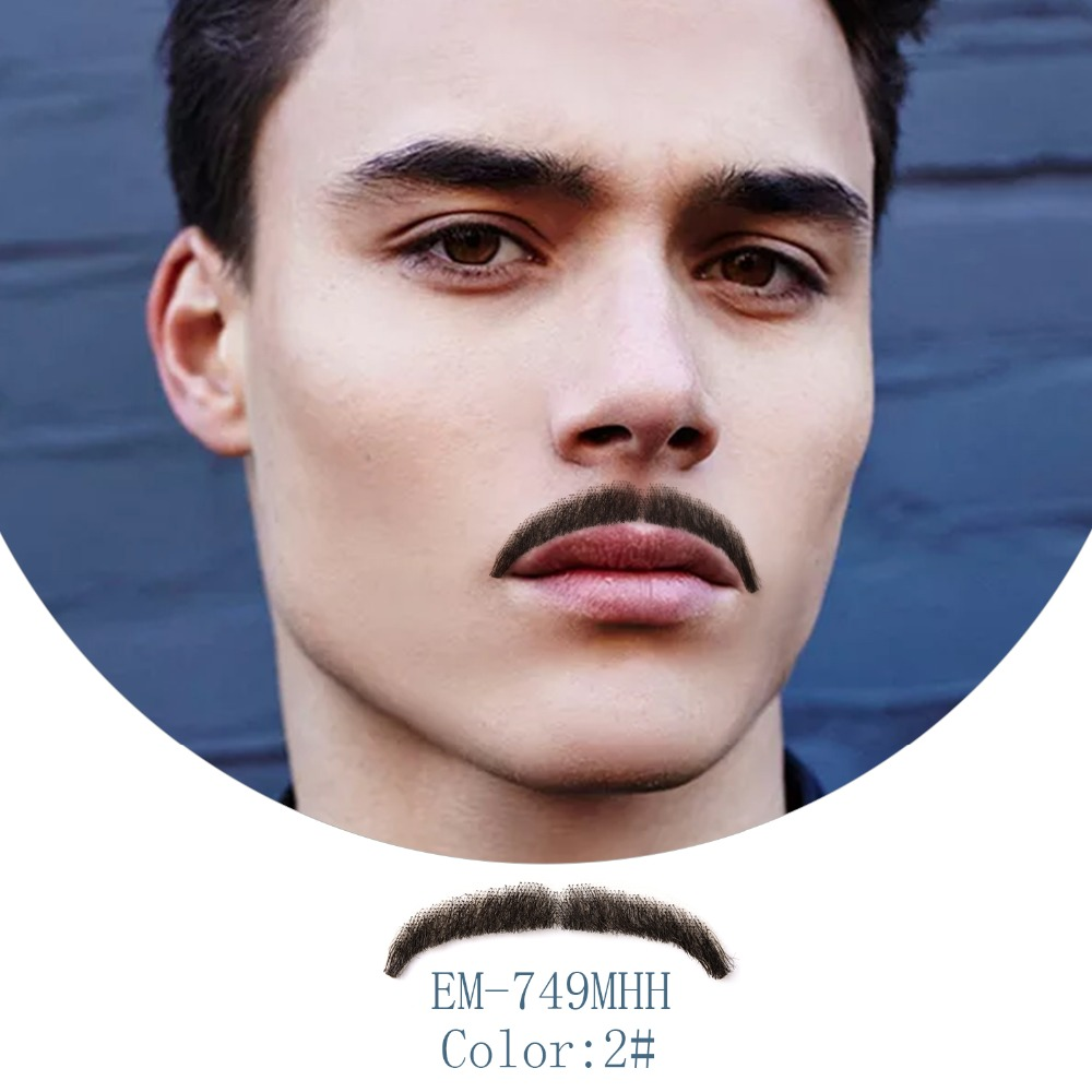 Neitsi 1Pcs Fake Beard 100% Human Hair Lace Fake Mustache EM-749MHH